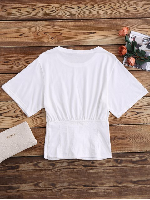 hot Lace Up Waistband Blouson T-Shirt - WHITE S Mobile