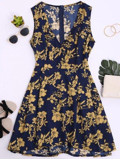 Sleeveless V Neck Floral Dress - Cerulean