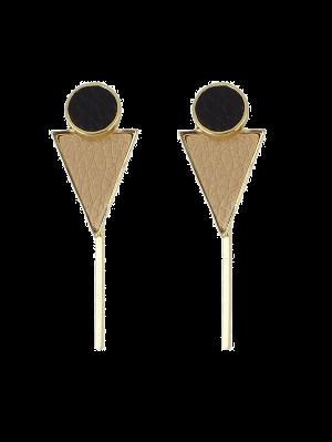 Boucles D'oreilles De Cercle, Triangle Et Barre - Kaki