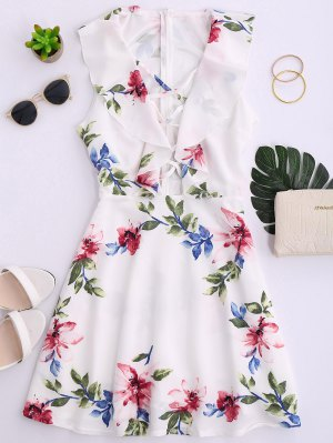 Ruffles Floral Plunging Neck Strappy Dress - White
