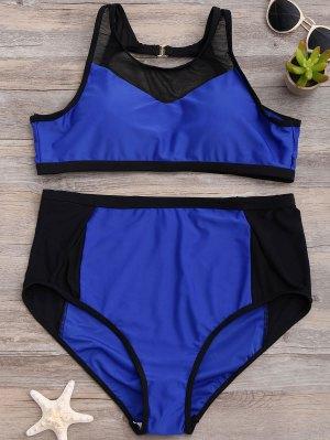 Talle Alto De Malla Abertura De Panel Del Bikini - Azul