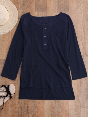 Breast Pocket Henley Top - Cadetblue