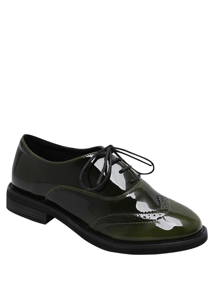 Wingtip Patent Leather Tie Up Flat Shoes - ARMY GREEN