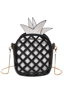 Funny Pineapple Shaped Crossbody Bag - Black