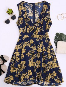 Sleeveless V Neck Floral Dress - Cerulean