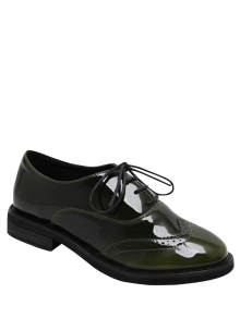 Buy Wingtip Patent Leather Tie Flat Shoes - ARMY GREEN 38