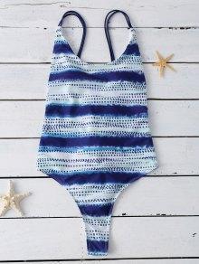 Lace Up Tye-Dyed Swimwear - Blue M