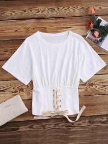Lace Up Waistband Blouson T-Shirt - White