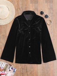Button Up Velvet Shirt - Black S