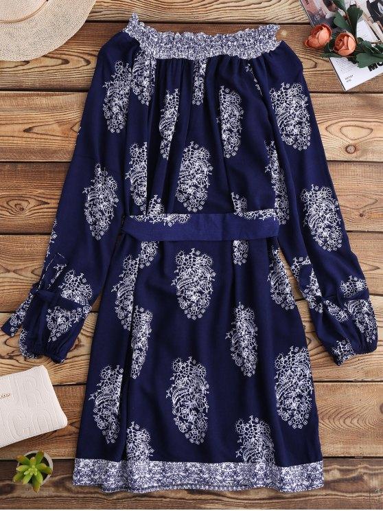 Printed Off Shoulder Belted Dress - PURPLISH BLUE S Mobile