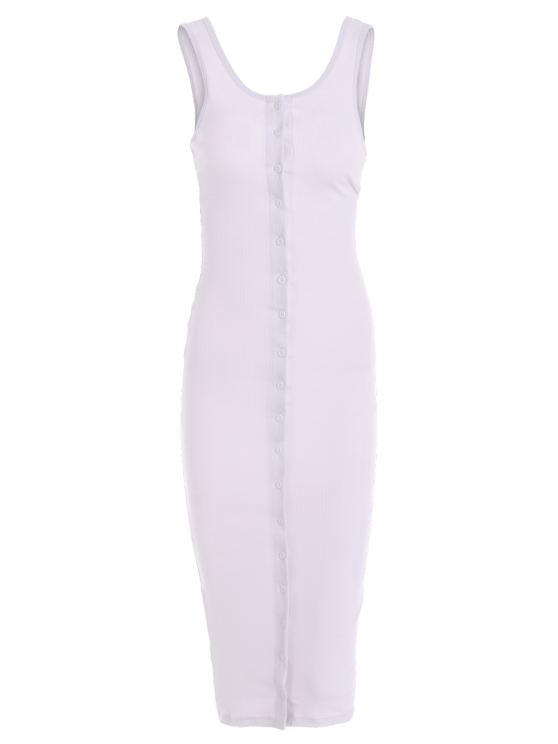 Knitting Button Up Bodycon Dress - WHITE S Mobile