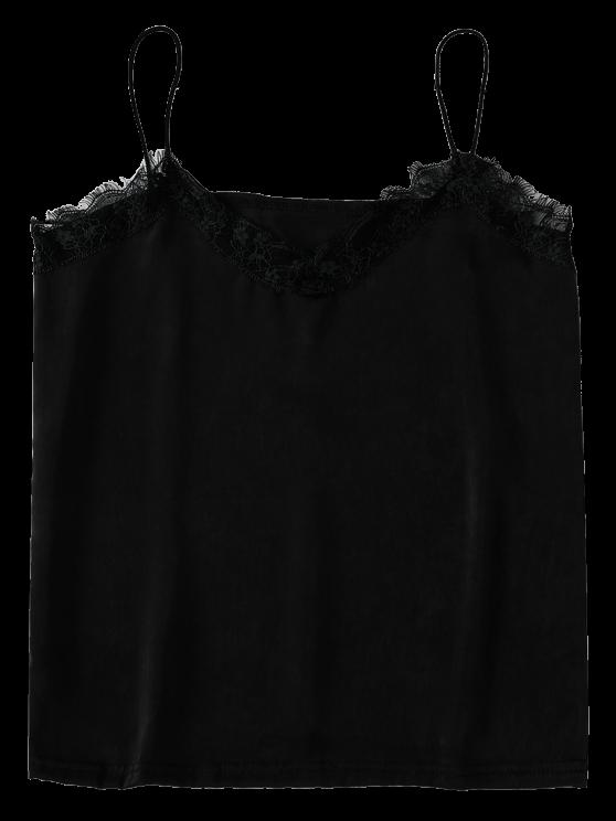 Satin Lace Trim Cami Top - BLACK M Mobile