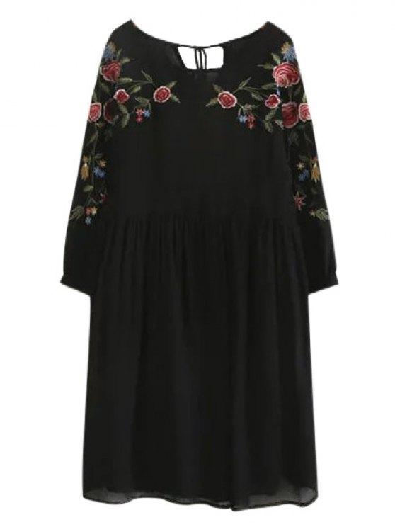 High Low Floral Embroidered Smock Dress - BLACK S Mobile