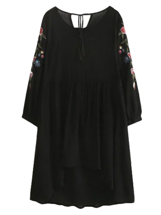unique High Low Floral Embroidered Smock Dress - BLACK S