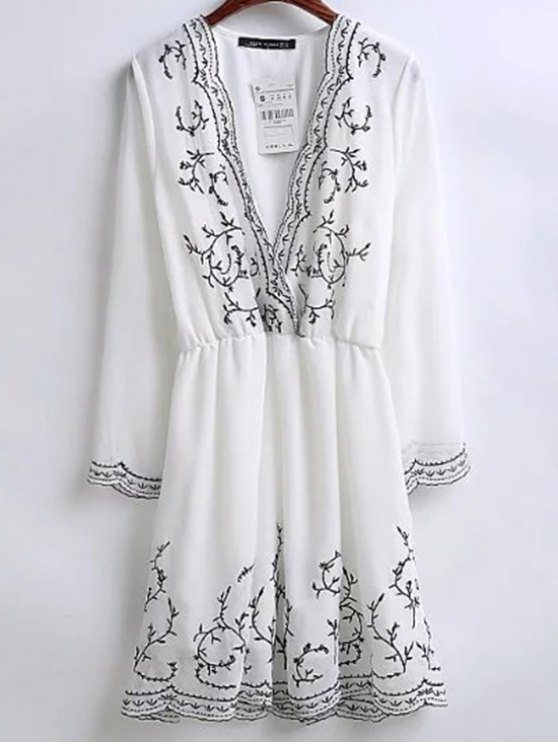 Embroidered Surplice Holiday Dress - WHITE L Mobile