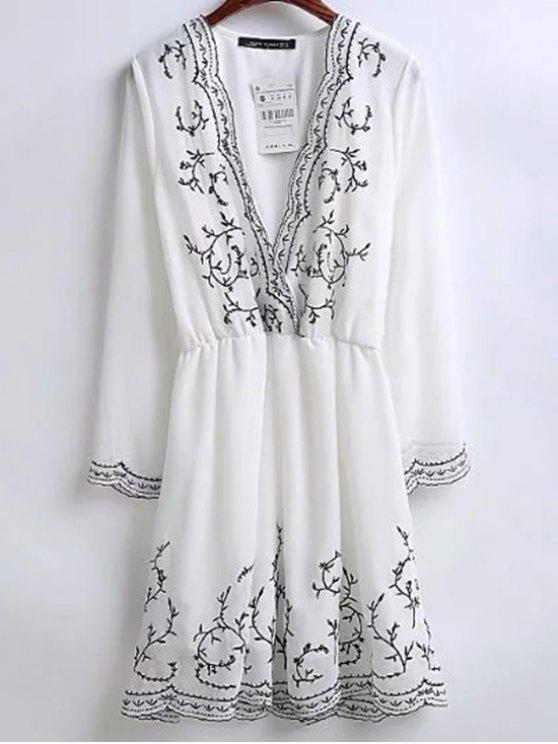 Vestido bordado de vacaciones Sobrepelliz - Blanco L
