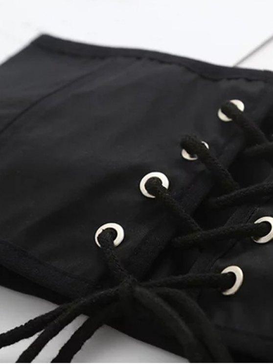 Lace Up Waist Corset - BLACK M Mobile