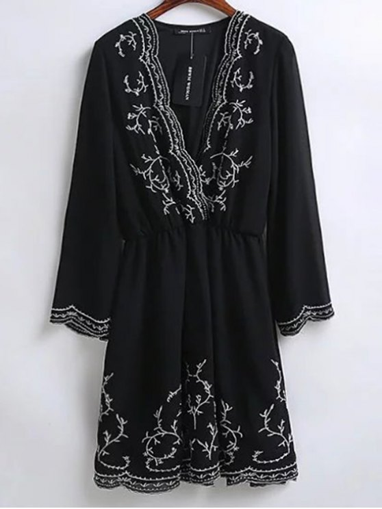 Embroidered Surplice Holiday Dress - BLACK M Mobile