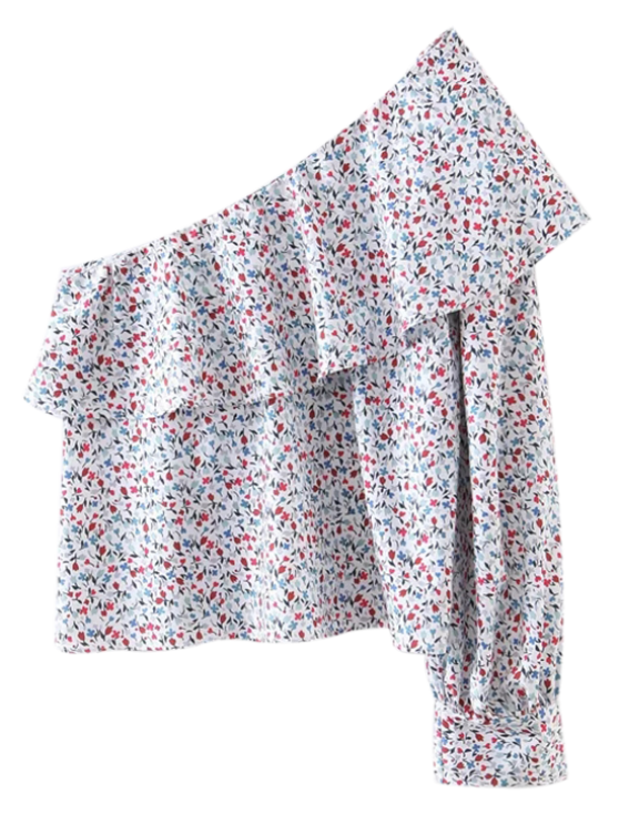 outfits Floral One Shoulder Top - MULTICOLOR M