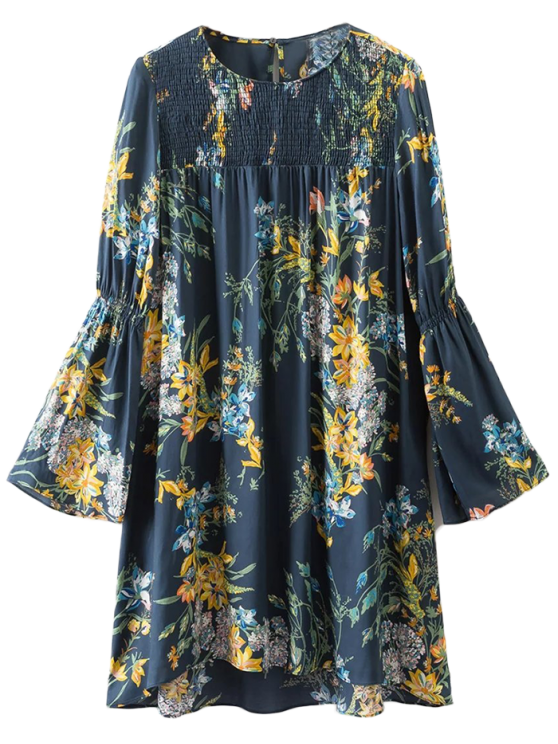Flare Sleeve Floral Tunic Dress - CADETBLUE M Mobile