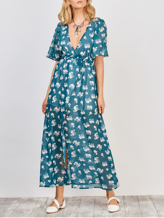 chic Floral Wrap Maxi Dress - BLUE GREEN M