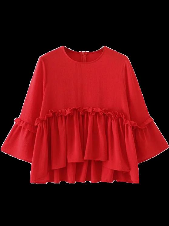 fashion Ruffle Hem Smock Top - RED M