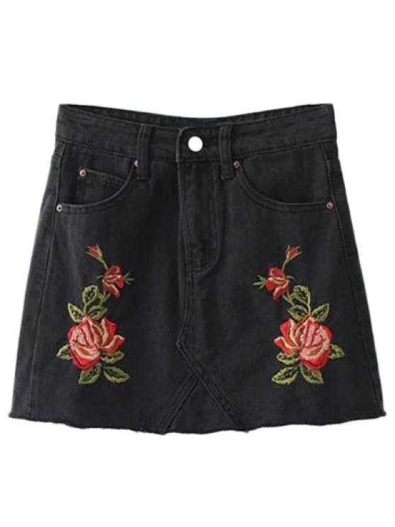 Rose Embroidered Denim Skirt - BLACK L Mobile