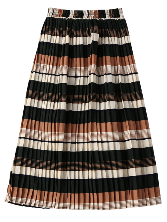 Striped Elastic Waisted Pleated Skirt - COLORMIX ONE SIZE Mobile