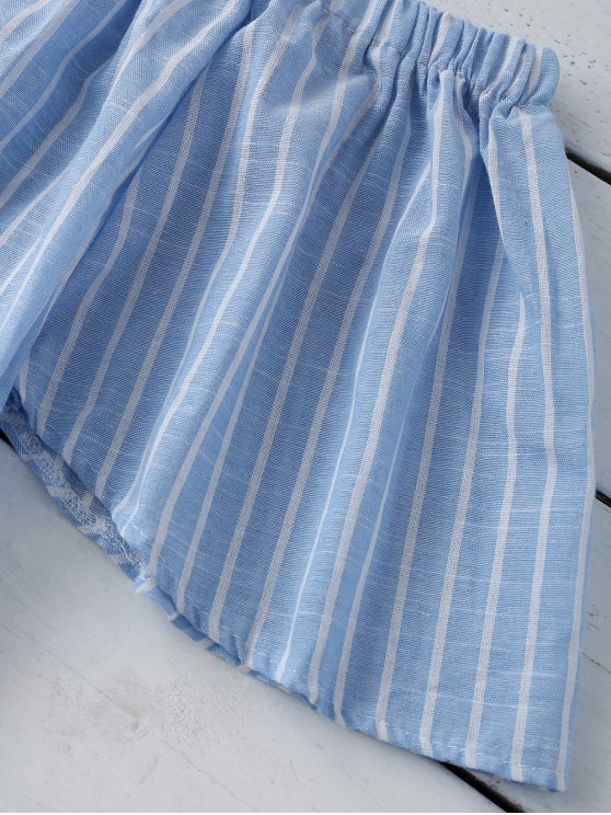Striped Off Shoulder Blouse - LIGHT BLUE S Mobile