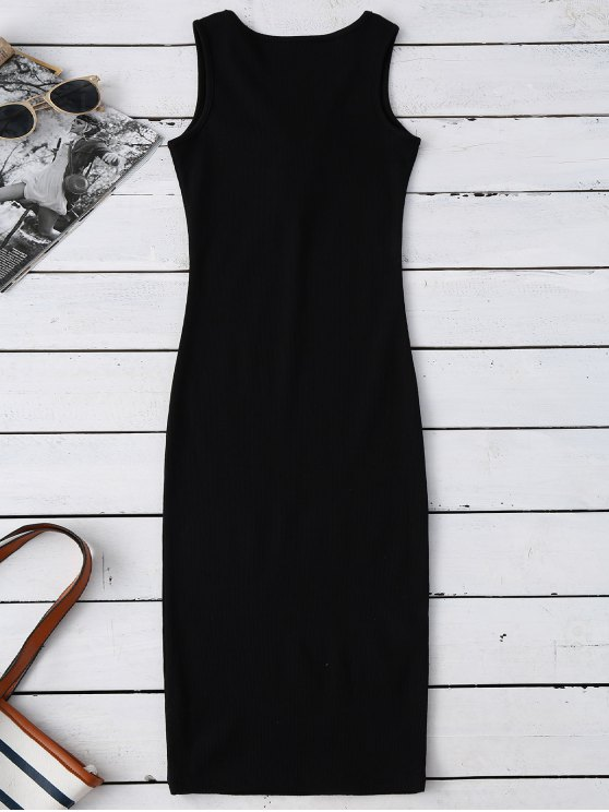 Lace Up Ribbed Bodycon Dress - BLACK ONE SIZE Mobile