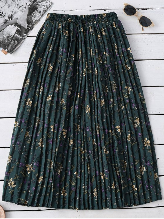 affordable Tiny Floral Pleated Midi Skirt - GREEN ONE SIZE