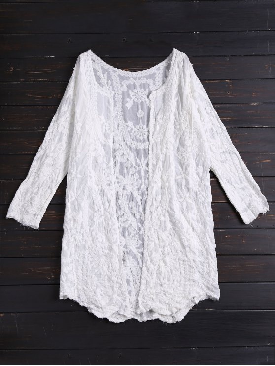 Long Sleeves Embroidered Cover Up - WHITE ONE SIZE Mobile