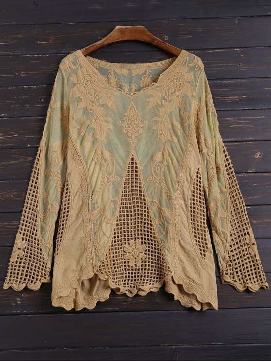fashion Long Sleeves Sheer Crochet Lace Top - YELLOW ONE SIZE