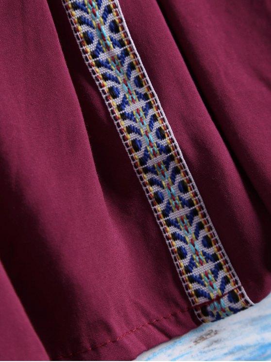 Belled Sleeve Off The Shoulder Top - BURGUNDY ONE SIZE Mobile