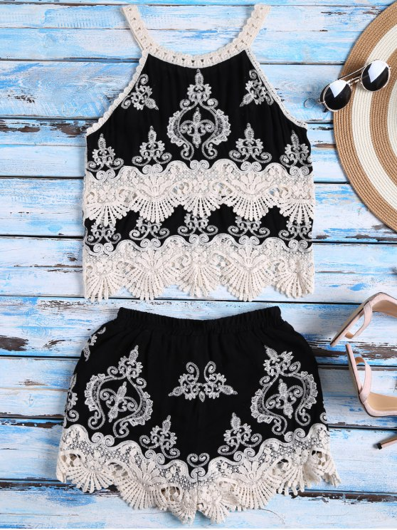 Crochet Panel Tank Top and Shorts Set - BLACK ONE SIZE Mobile