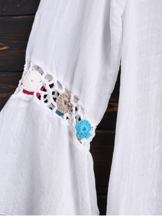 Long Sleeves Crochet Yoke Cover Up - WHITE ONE SIZE Mobile