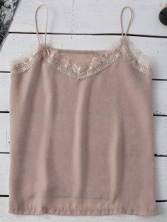 Satin Lace Trim Cami Top - Pinkbeige M