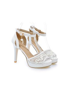 Mesh Ankle Strap Sandals - White 39