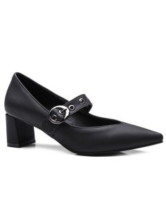 Block Heel Eyelets Pumps - Black 38