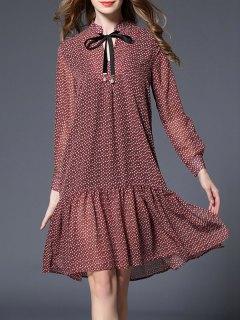 Drop Waist Floral Print Bowtie Dress - L
