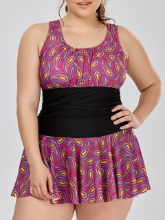 Plus Size Paisley Skirted One Piece Swimwear - 5xl