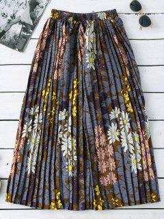 تنورة المكشكش بالطول المصف بطبع الزهور