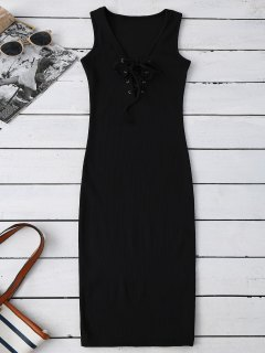 Lace Up Ribbed Bodycon Dress - Black