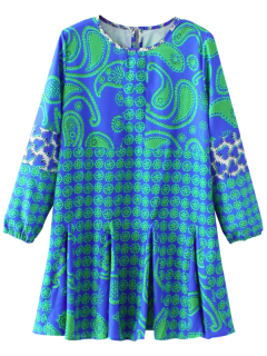Long Sleeve Paisley Print Dress - Blue S