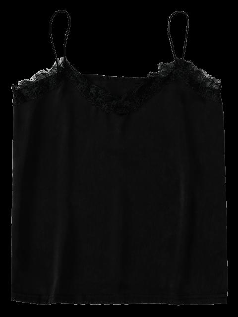 outfits Satin Lace Trim Cami Top - BLACK M Mobile