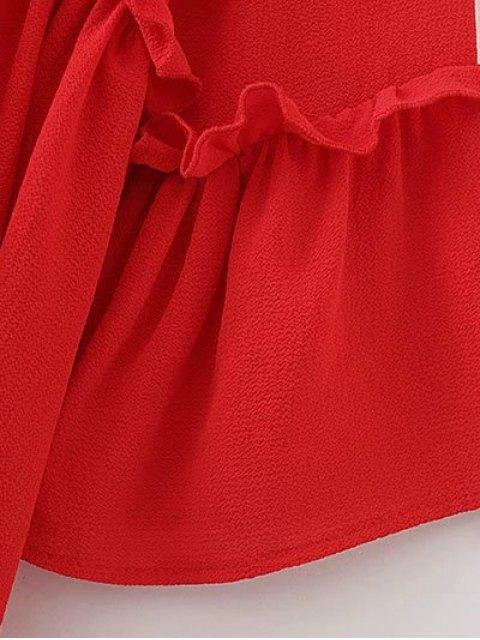 trendy Ruffle Hem Smock Top - RED L Mobile