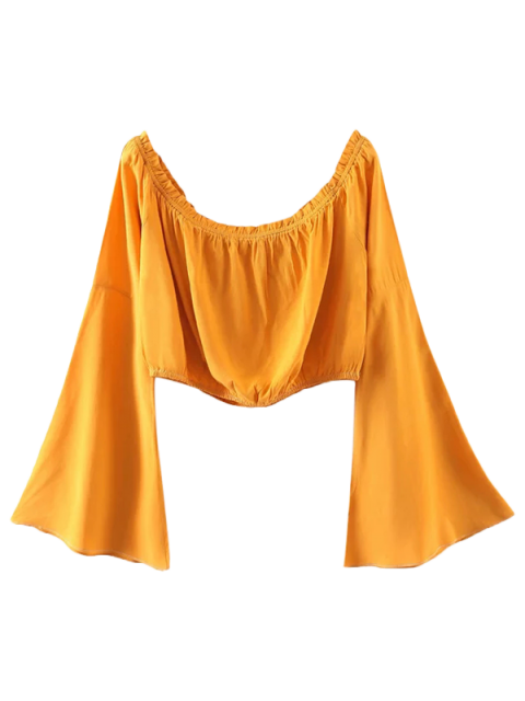 affordable Off Shoulder Bell Sleeve Crop Top - YELLOW S Mobile