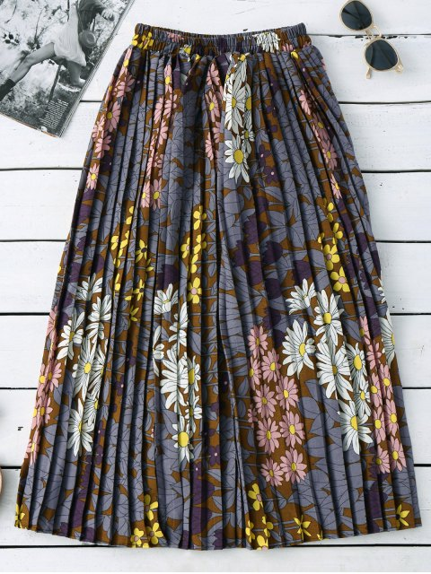 sale Floral Pleated Midi Skirt - COLORMIX ONE SIZE Mobile