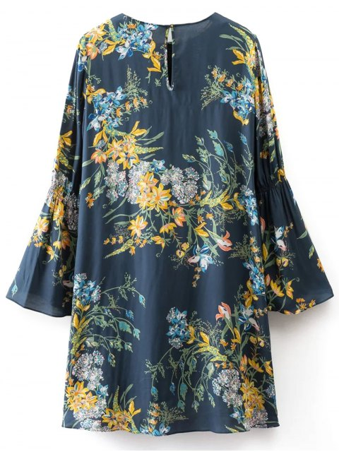 fancy Flare Sleeve Floral Tunic Dress - CADETBLUE M Mobile
