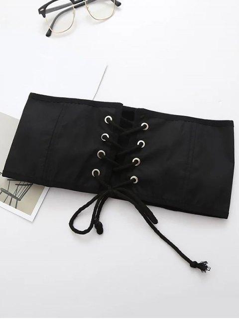 women's Lace Up Waist Corset - BLACK M Mobile